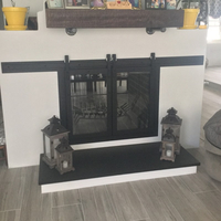 Paterson Sliding Masonry Fireplace Door on one side of a customer's see thru fireplace