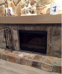 Customer photo of their Arlington Fireplace Door in satin black