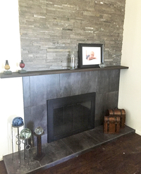 Customer photo of the Ardmore fireplace door for masonry fireplaces