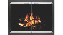 Inline Fireplace Door Black With Brushed Nickel Doors