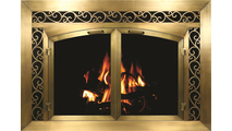 Plated Antique Brass Cascade Fireplace Door With Sidelight And Transom