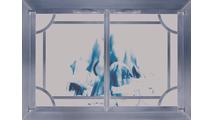 Plated Antique Brass Cascade Fireplace Door With Window Pane And Center Bar