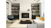"28"" 4-Sided Millivolt Medium Vent Free Gas Fireplace Insert Room Setting"