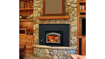 Oakdale 1101 Wood Fireplace Insert with Flashing Kit and Arched Cast Iron Door Room Setting