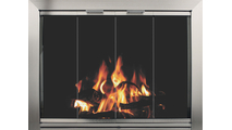 Avaleria Fireplace Glass Door in Brite Nickel with draft assembly