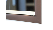 Corner detail of Brookside glass fireplace door in Oil Rubbed Bronze & Antique Steel Stiles