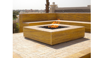 Square Stainless Steel Burner in a fire pit