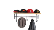 36 inch Coat Rack with Solid Hardwood Shelf w/ 5 Hooks Hammered Steel Frontview