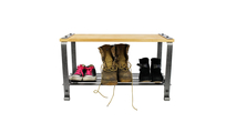 Craftsman Multi-purpose Bench with Solid Alder Top Hammered Steel Frontview