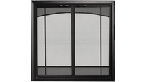 Sunrise Window Pane Design Direct Vent Screen With Operable Doors in Rustic Black