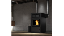 Osburn 7000 Pellet Stove with Black Door shown with Hot Air Distribution Kit
