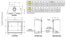 DRT4040 Fireplace Dimensions