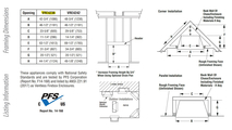 Superior Indoor VRE4236 Framing Dimensions and Listing Information