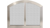 Brushed Stainless Steel Arched Masonry Fireplace Door