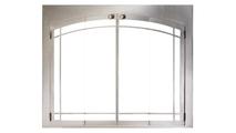 Stainless Steel Indoor Outdoor Zero Clearance Fireplace Door With Arch Window Pane