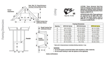 Superior VRT3142 Framing Dimensions