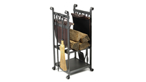Forged Steel Laramie Wood Holder with optional leather log carrier shown in Clear Natural finish
