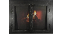 Classic Cabinet Style Masonry Fireplace Door In Black Hammered Finish