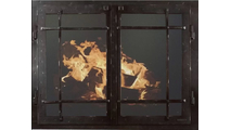 Classic Cabinet Mission Style Masonry Fireplace Door In Black Copper Hammered Finish