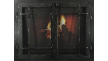 Classic Cabinet Mission Style Masonry Fireplace Door In Black Hammered Finish