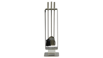 Brushed Stainless Steel Contemporary Fireplace Tool Set
