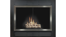Biscayne Fireplace Refacing In Matte Black With Brite Nickel Doors And Clear Glass