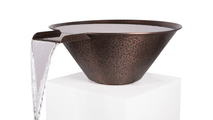 """30"""" Round Cadiz Hammered Copper Water Bowl features a hammered patina finish"""