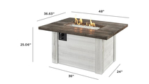 Alcott Outdoor Rectangular Gas Fire Pit Table Dimensions