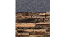 Brown Stacked Stone with Steel Gray Polished countertop