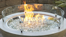 "Black Cove 30"" Gas Fire Pit Bowl Glass Wind Guard"