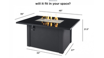 Black Grandstone Rectangular Gas Fire Pit Table Dimensions