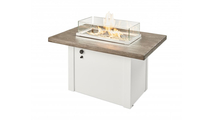Driftwood Havenwood Gas Fire Pit Table with White Base Glass Wind Guard