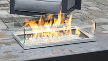 Driftwood Havenwood Gas Fire Pit Table with White Base Wind Guard (Optional)