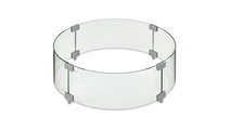 Edison Round Gas Fire Pit Table Glass Wind Guard