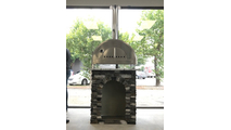 Pizza Oven Stand with grey wall stone and cloudy white granite countertop
