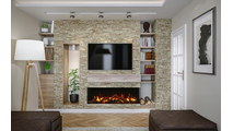 TruView XL Extra Tall 3 sided Indoor/Outdoor Electric Indoor Fireplace Rockwall And TV
