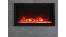 """40"""" Panorama Extra Tall Indoor/Outdoor Built-In Electric Fireplace With Black Steel Surround"""