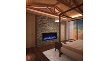 "50"" Panorama Extra Tall Indoor/Outdoor Electric Fireplace With Black Steel Surround Bedroom Installation"