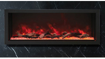 """60"""" Panorama Extra Tall Indoor/Outdoor Built-In Electric Fireplace With Black Steel Surround"""