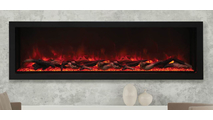 "72"" Panorama Extra Tall Indoor/Outdoor Electric Fireplace With Black Steel Surround Wall Installation"