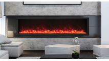 """88"""" Panorama Extra Tall Indoor/Outdoor Built-In Electric Fireplace With Black Steel Surround"""