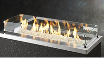 Stainless Steel Key Largo Linear Gas Fire Pit Table Glass Wind Guard