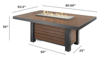 Kenwood Linear Dining Height Gas Fire Pit Table Dimensions