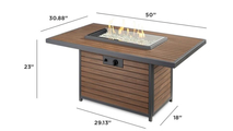 Kenwood Rectangular Chat Height Gas Fire Pit Table Dimensions