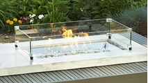 Kenwood Rectangular Chat Height Gas Fire Pit Table Glass Wind Guard