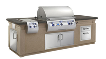 Pre-Fab Grill Islands With Café Blanco Base And Polished Smoke Counter And Double Drawer
