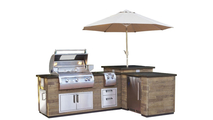 Reclaimed French Barrel Oak Wood Finished L-Shaped Grill Island With Refrigerator