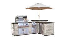 Reclaimed Silver Pine Wood Finished L-Shaped Grill Island With Refrigerator