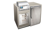 Firemagic Electric Grill Island Bundle In Smoke Finish With Refrigerator
