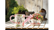 Pink Flamingo Teacup Planter 3